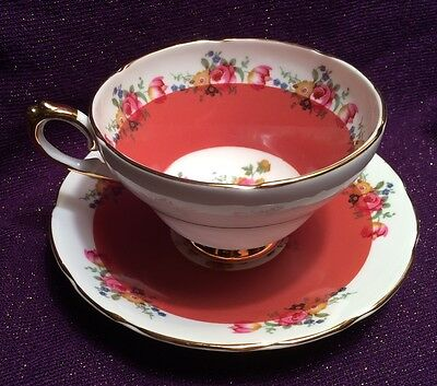 Royal Sutherland Staffordshire Flower/ Floral Pink Bone China Tea Cup & Saucer