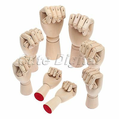 Wooden Right Left Hand Model Sketching Drawing Jointed Movable Fingers Mannequin