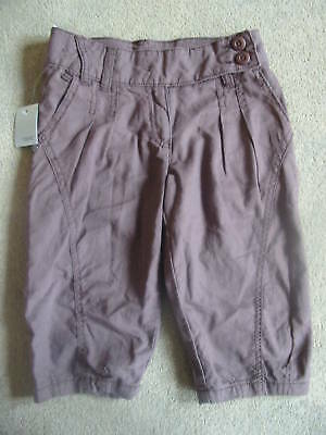 BNWT NEXT Brown Linen Blend Cropped Trousers 7 Years Plus + Fit