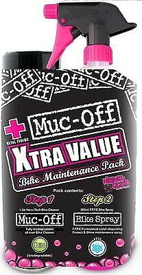 Muc Off Bike Care Pack Bicycle Cycle Trigger 1L Cleaner + 500ml PTFE Bike Spray