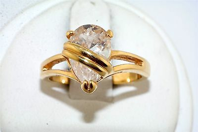 Tear Drop CZ Gold Plated  Ring