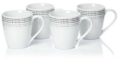 Set of 4 Large Porcelain Coffee Mugs with Spotty Design