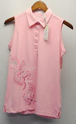 New Ladies Cracked Wheat Pink Sleeveless polyester golf polo shirt Small