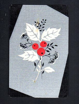 Vintage Swap/Playing Card - Flowers on Silver  (LINEN)