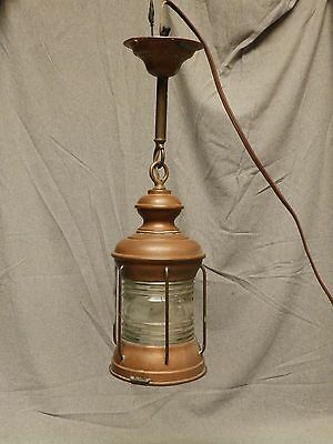 Vtg Nautical Copper Porch Light Ceiling Sconce Fixture Thick Glass Globe 667-16