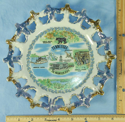 Reticulated Edge TENNESSEE Souvenir Collector Plate Smoky Mts. Lovers Leap