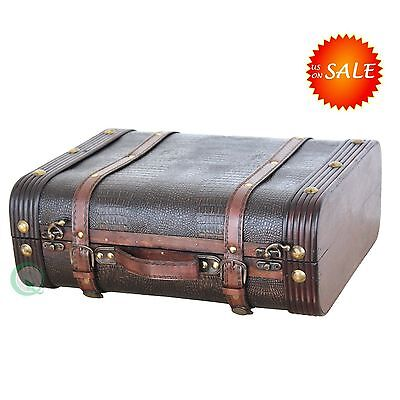 Wooden Leather Antique Suitcase Treasure Box Old Fashioned Storage Chest  Trunk