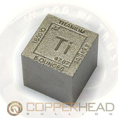 1 x 5oz .999 Fine Titanium Bullion Cube Element Design Square Bar 8-10-16-20