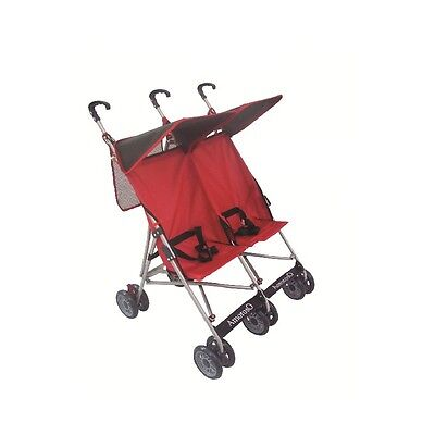 Amoroso 4232 Twin Baby Stroller With Net Bag at Handle, Black/Red New