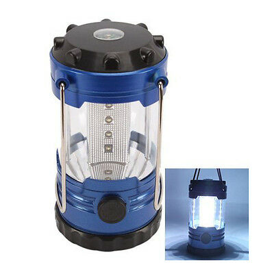 12 LED Portable Camping Camp Lantern Light Lamp with Compass-Blue HY