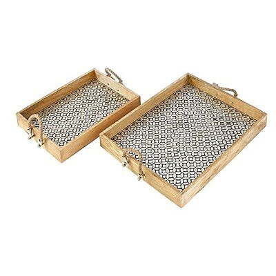 Benzara Outstanding Wood Mosaic Silver Rope Tray Set Of 2 42156 New