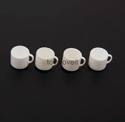 4pcs Doll House Miniature Mugs Cup w/ Handle Kitchen Cafe Shop Drink Supply