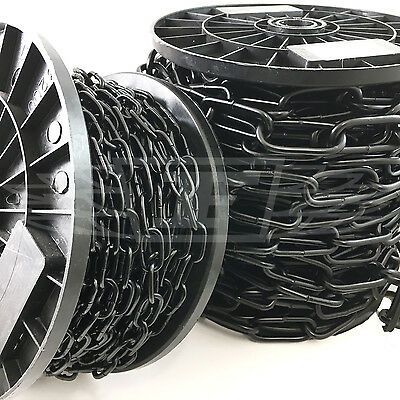FULL REELS of BLACK HEAVY DUTY THICK WELDED CHAIN SHORT LONG LINKS HANGING