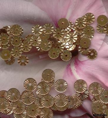 VINTAGE FRENCH SEQUINS Gold Copper Indent Metallic France Paillette 5mm & 6mm