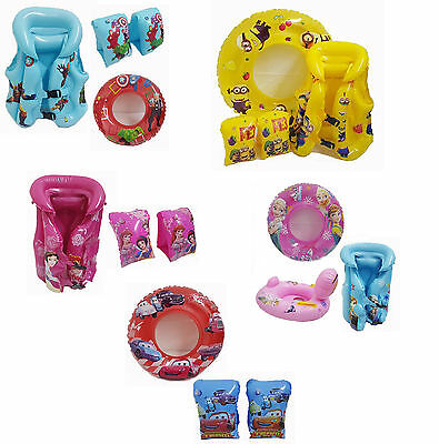 Kids Disney Inflatable Swim Floats Armbands Swimming Pool Water Ring Life Vest
