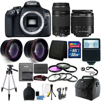 Canon EOS 1300D/T6 18MP DSLR Camera + 18-55mm + 75-300mm Lens +32GB Accessories