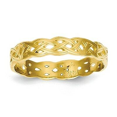 14k Yellow Gold Fancy Shiny Polished Celtic Knot Band