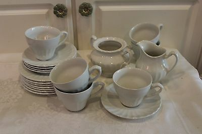 J & G MEAKIN CLASSIC WHITE CUPS  &  SAUCERS - and more 19 pc.