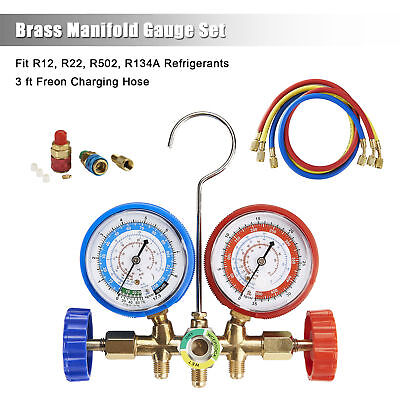 Manifold Gauge Set 3ft Hose R12 R22 R502 R134A Quick Coupler Refrigeration
