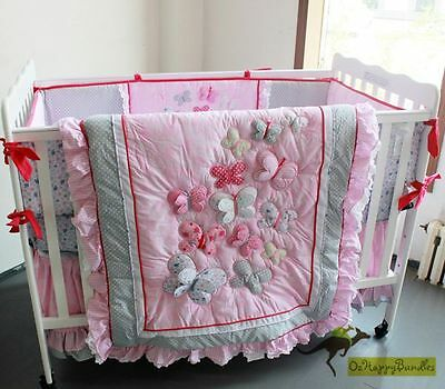 New Baby Girls 6 Pieces Pink Butterfly Cotton Nursery Bedding Crib Cot Sets