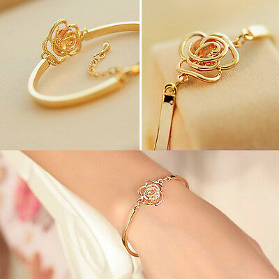 Special Women Crystal Rose Flower Bangle Gold Filled Cuff Chain Bracelet