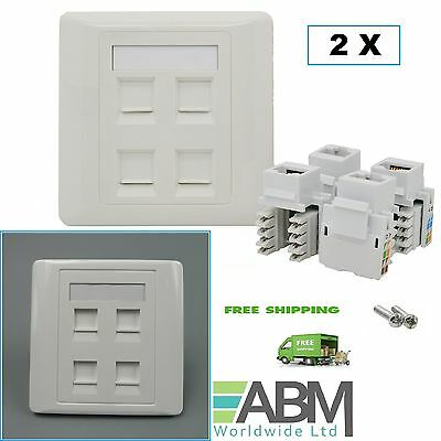 2 X 4 Ports RJ45 Face Plate Wall Sockets Cat5E QUAD 4 Port with Keystones Jacks