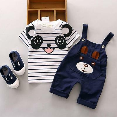 2016 2Pcs Baby Boys Cartoon T-Shirt + Straps Short Pants Set Kids Summer Outfits
