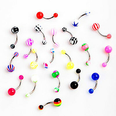 20pcs Colorful Stainless Steel Ball Barbell Belly Button Rings HY