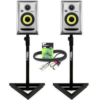 2x KRK Rokit RP4 G3 Silver Monitors with Gorilla GSM-100 Monitor Stands & Cables