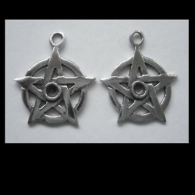 PEWTER CHARM #2368 SMALL PENTAGRAM x 2 (20mm x 18mm) 1 bail 1 crystal cavity