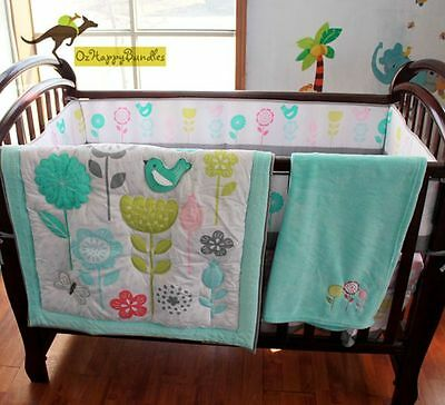 New Baby Girls 8 Pieces Bird Flowers Cotton Nursery Bedding Crib Cot Sets