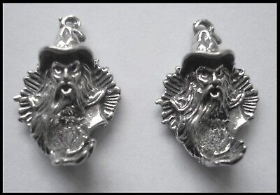 PEWTER CHARM #2382 WIZARD HEAD x 2 (21mm x 15mm) 1 bail crystal cavity