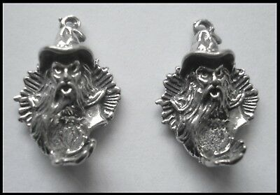 PEWTER CHARM #2382 x 2 WIZARD HEAD (21mm x 15mm) 1 bail crystal cavity