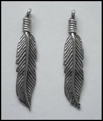 PEWTER CHARM #2384 FEATHER x 2 (29mm x 7mm) 1 bail
