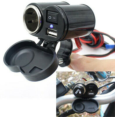 Motorcycle Bike Car Waterproof Cigarette Lighter USB Power Charging Socket 12V