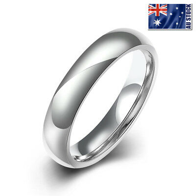 Silver Colour Solid Titanium Steel 4mm Classic Plain Band Wedding Ring Stunning