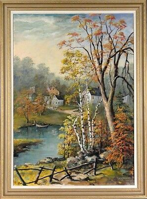 Amazing ca.1960 Village near River & Woods Painting Oil/Canvas/Frame Signed