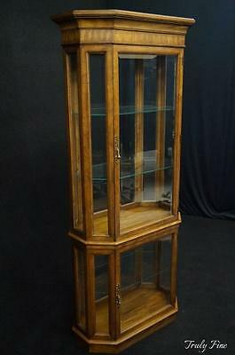 WEIMAN Beveled Glass Curio Crystal Display Cabinet Showcase Lighted Fruit Wood