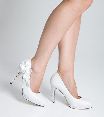 Wedding Shoes Bridal Evening Prom Night High Heel Ladies Shoes - White - Size 7
