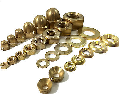 Solid Brass Full Nuts, Dome Nuts, Flat Washers, Turned Washers & Cup Washers