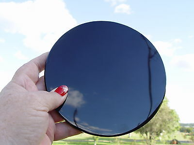THICK 10 mm BLACK OBSIDIAN GLASS SCRYING MIRROR 127 mm Wicca Witch Pagan Occult