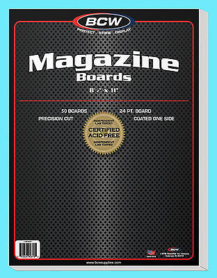 "50 BCW MAGAZINE SIZE 8.5"" x 11"" BACKING BOARDS Storage White Backer 24pt 8-1/2"""
