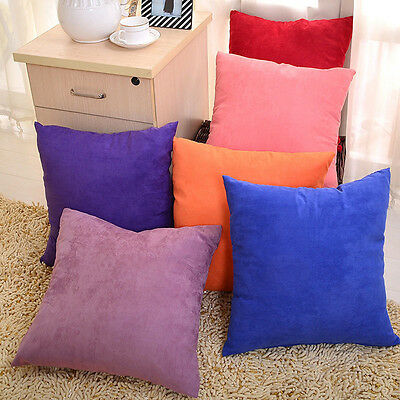 """Square Solid Suede Nap Cushion Cover Home Decor Bed Sofa Throw Pillow 18""""x18"""""""
