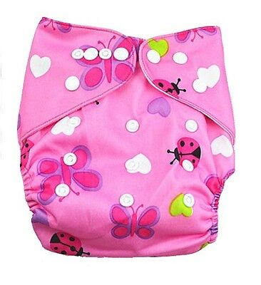Modern Cloth Reusable Washable Baby Nappy Diaper & Insert, pink lady bug PUL