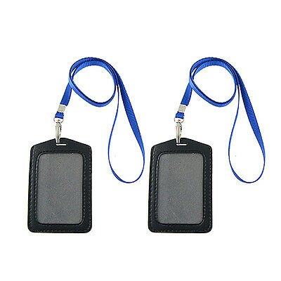 Faux Leather BusIness ID Badge Card Vertical Holders 2 pcs HY