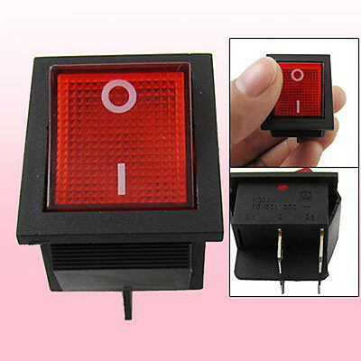 Red Light Illuminated 4 Pin DPST ON/OFF Snap in Rocker Switch 16A 20A 250V AC HY