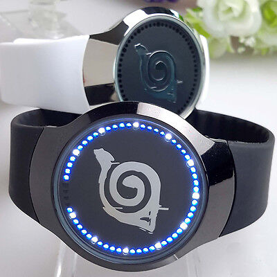 Anime Naruto Konoha Logo LED Touch Screen Electronic Watch Glass Wristwatch Gift