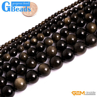 "Natural Golden Obsidian Round Beads For Jewellery Making Strand 15"" 6mm 8mm 10mm"