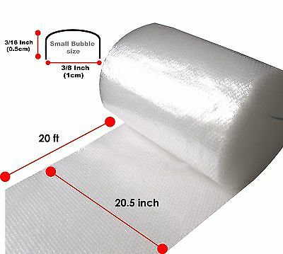 Small Bubble Plastic Paper Wrap 1 Roll 3/16 x 20.5inch x 20ft Non-Perforated