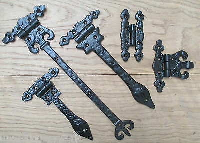 Pair Of Cast Iron Vintage Old English Classic Door Gate Cupboard Cabinet Hinges